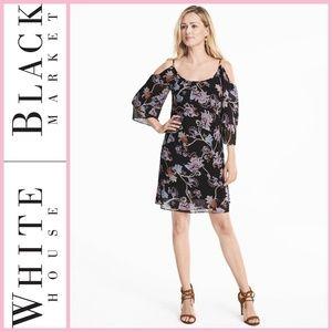 WHBM Cold Shoulder Floral Shift Dress
